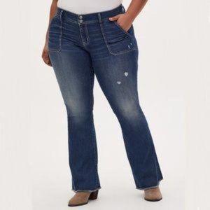 Torrid Mid Rise Flare Jeans 30T Raw Hems